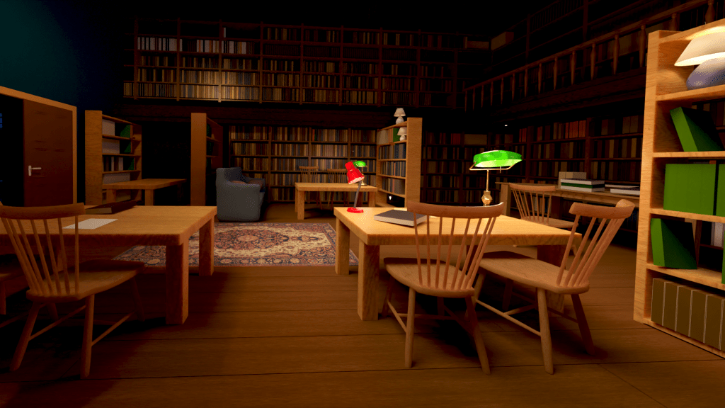Environnment illustration in 3D of library , Dertypaws Creative