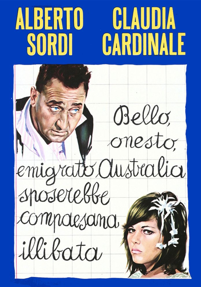Locandina di Bello, onesto, emigrato Australia sposerebbe compaesana illibata. Film del 1971 diretto da Luigi Zampa.