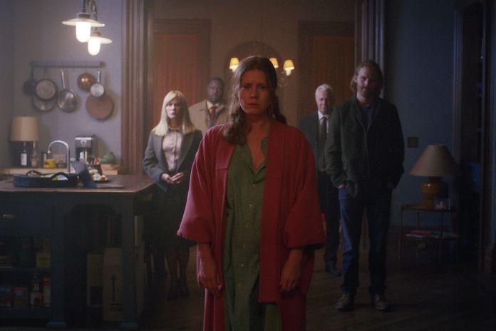 Amy, Adams Julianne Moore, Wyatt Russell, Gary Oldman, Anthony Mackie e Brian Tyree Henry nel cast del film netflix The woman in the window (2021)