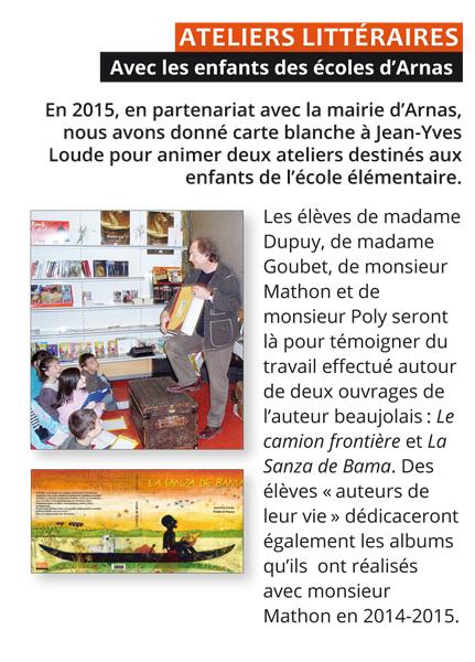 ateliers litteraires Avec les enfants des écoles d'Arnas