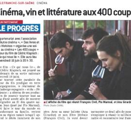 Le_Progres_Cinema-vin-litterature_170615_A_la_une