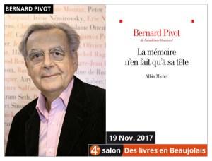 Bernard Pivot Président d'honneur du 4e salon Des Livres en Beaujolais