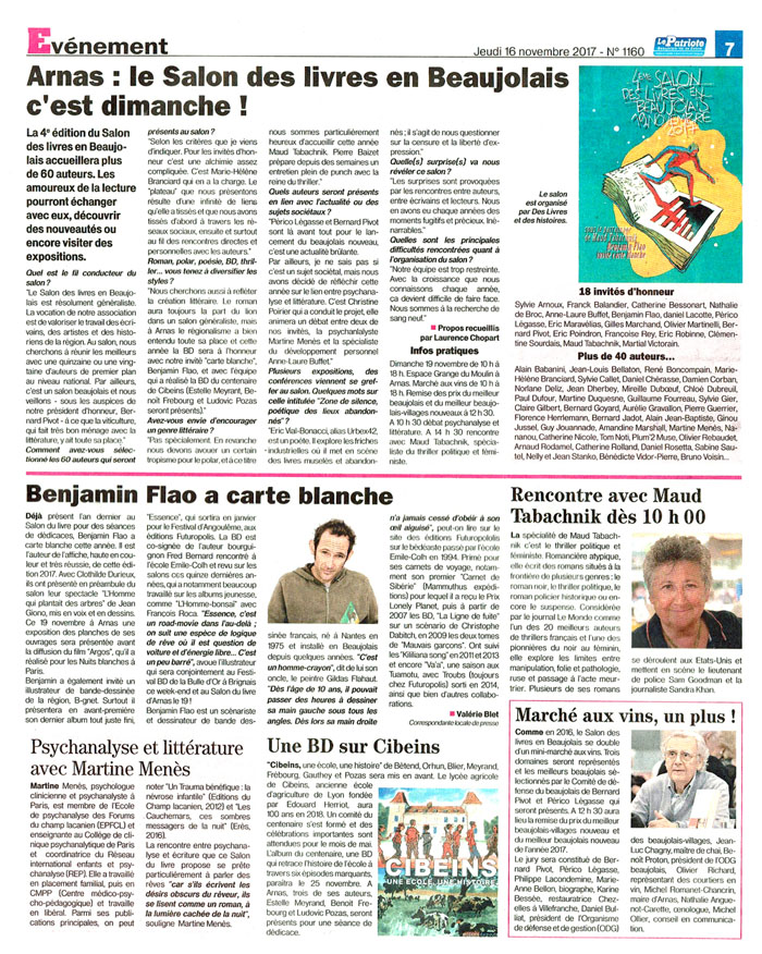 Le patriote salon des livres en beaujolais 171116 site