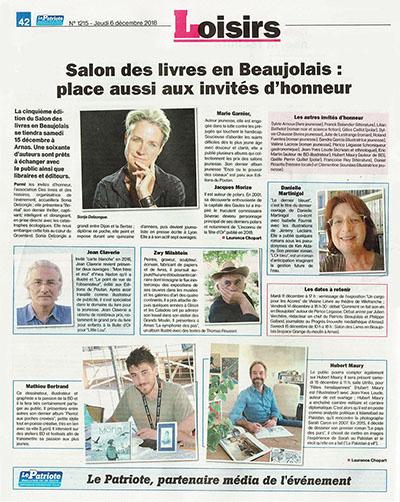 Des livres en Beaujolais : les invités d'honneur en 2018 - Le Patriote