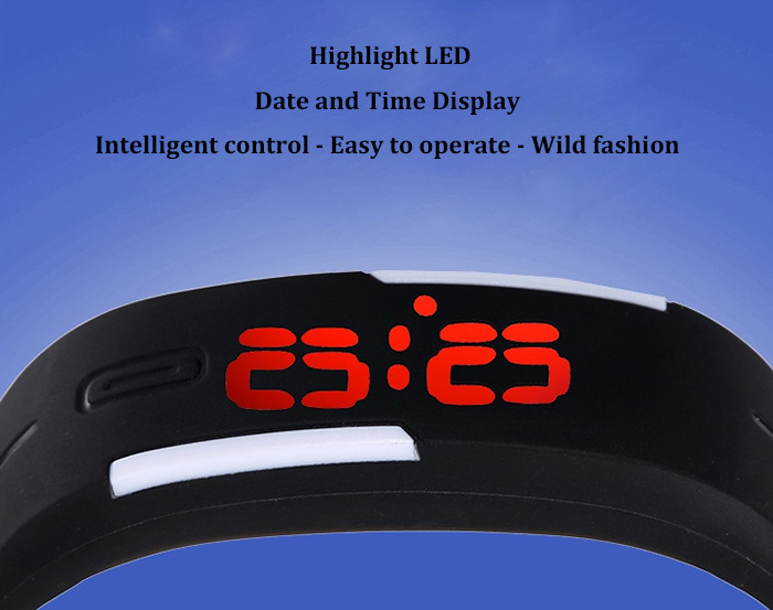 LED Watch Red Subtitles Date Rubber Strap Rectangle Dial- Black