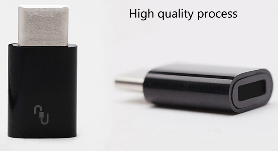 Original XiaoMi USB Type-C Male to Micro USB Female Connector for Home / Office- Black