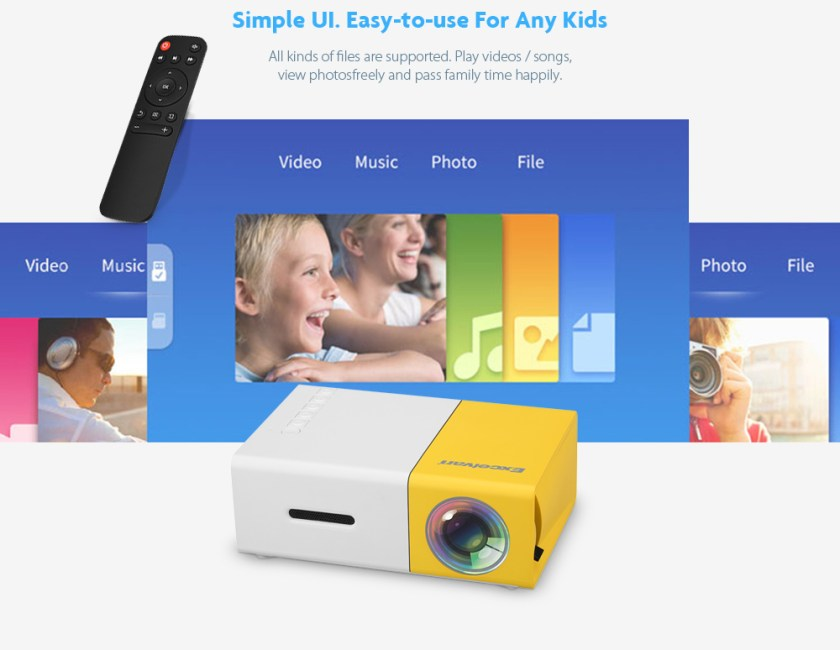 Excelvan YG300 Home Mini Projector 320 x 240P Support 1080P AV USB SD Card HDMI Interface- YELLOW WHITE UK Plug