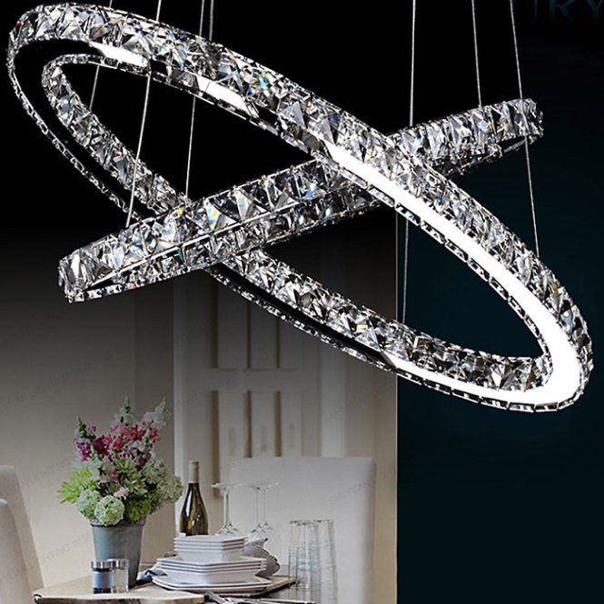 Lightmyself 46w 3000lm Cross Ring Led Crystal Chandelier Droplight