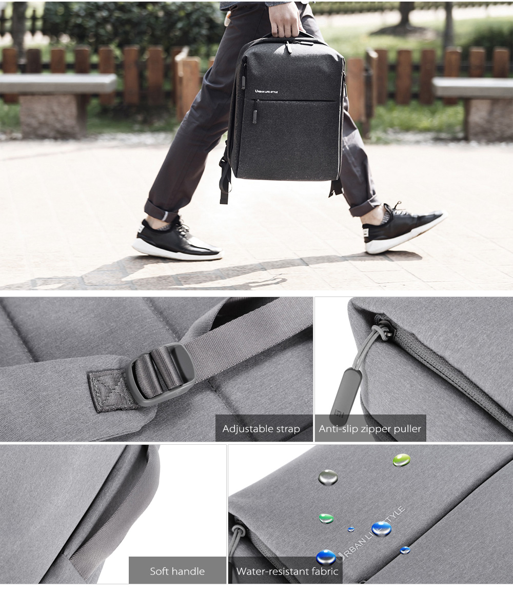 Original Xiaomi 14 inch Urban Style Polyester Backpack Leisure Sports Bag- Deep Gray