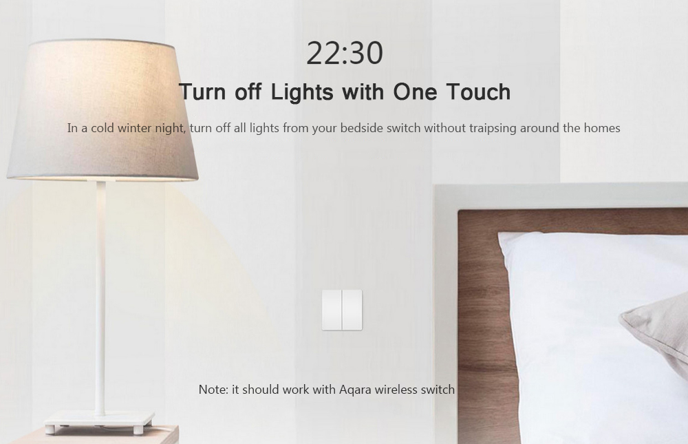 Xiaomi Aqara Smart Light Control Fire Wire and Zero Line Double Key Version- Milk white