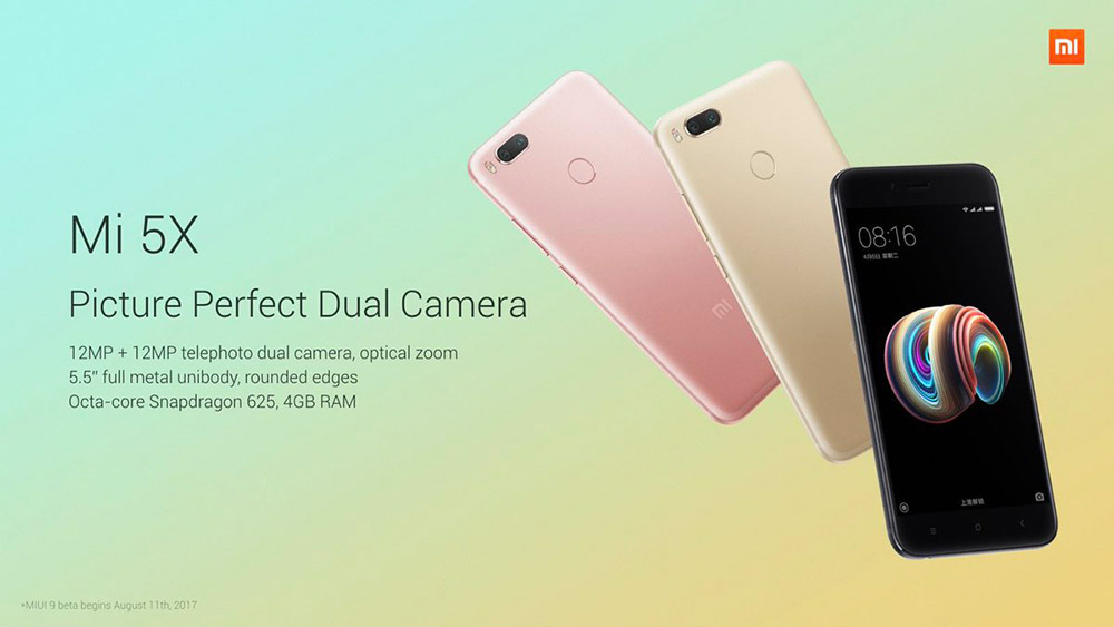 Xiaomi Mi 5X 4G Phablet 5.5 inch MIUI 8 Snapdragon 625 2.0GHz Octa Core 4GB RAM 64GB ROM 3080mAh Battery Dual 12.0MP Zoom Lens Fingerprint Scanner