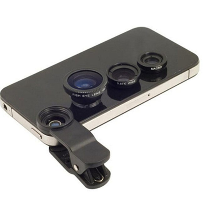 Fisheye Lens 3 in 1 Mobile Phone Lenses Fish Eye Wide Angle Macro Camera Lens