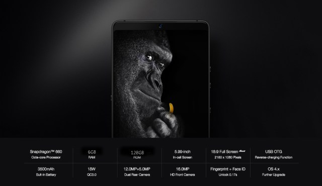Smartisan Nut Pro 2 4G Phablet 5.99 inch Android 7.1 Qualcomm Snapdragon 660 Octa Core 2.2GHz 6GB RAM 128GB ROM Dual Rear Cameras Corning Gorilla Glass Screen Fingerprint Sensor