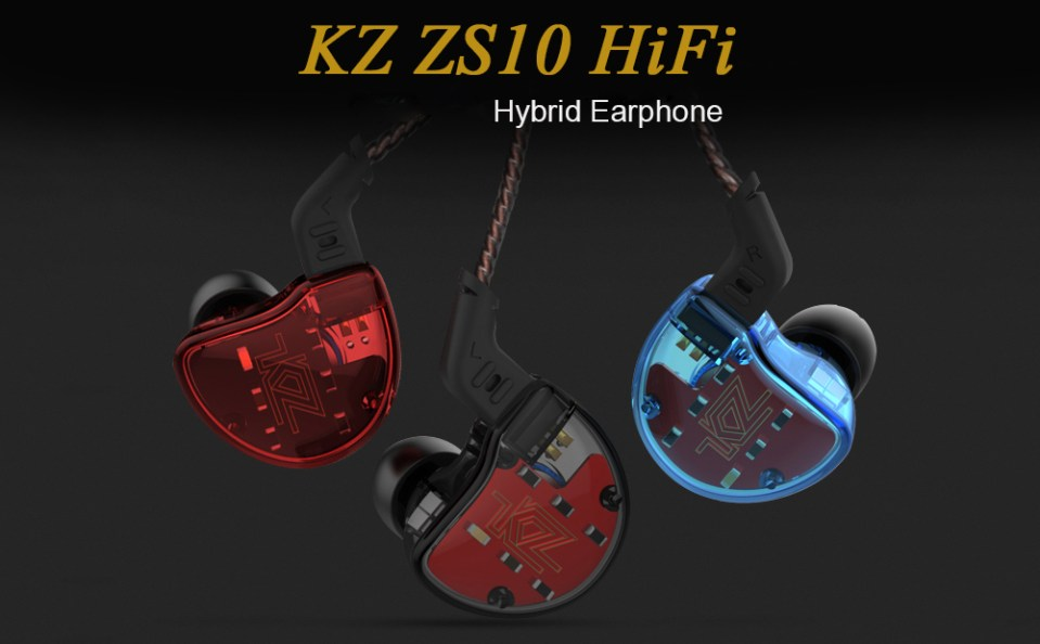 KZ ZS10 HiFi Hybrid Earphone Wired Earbuds- Red without Microphone