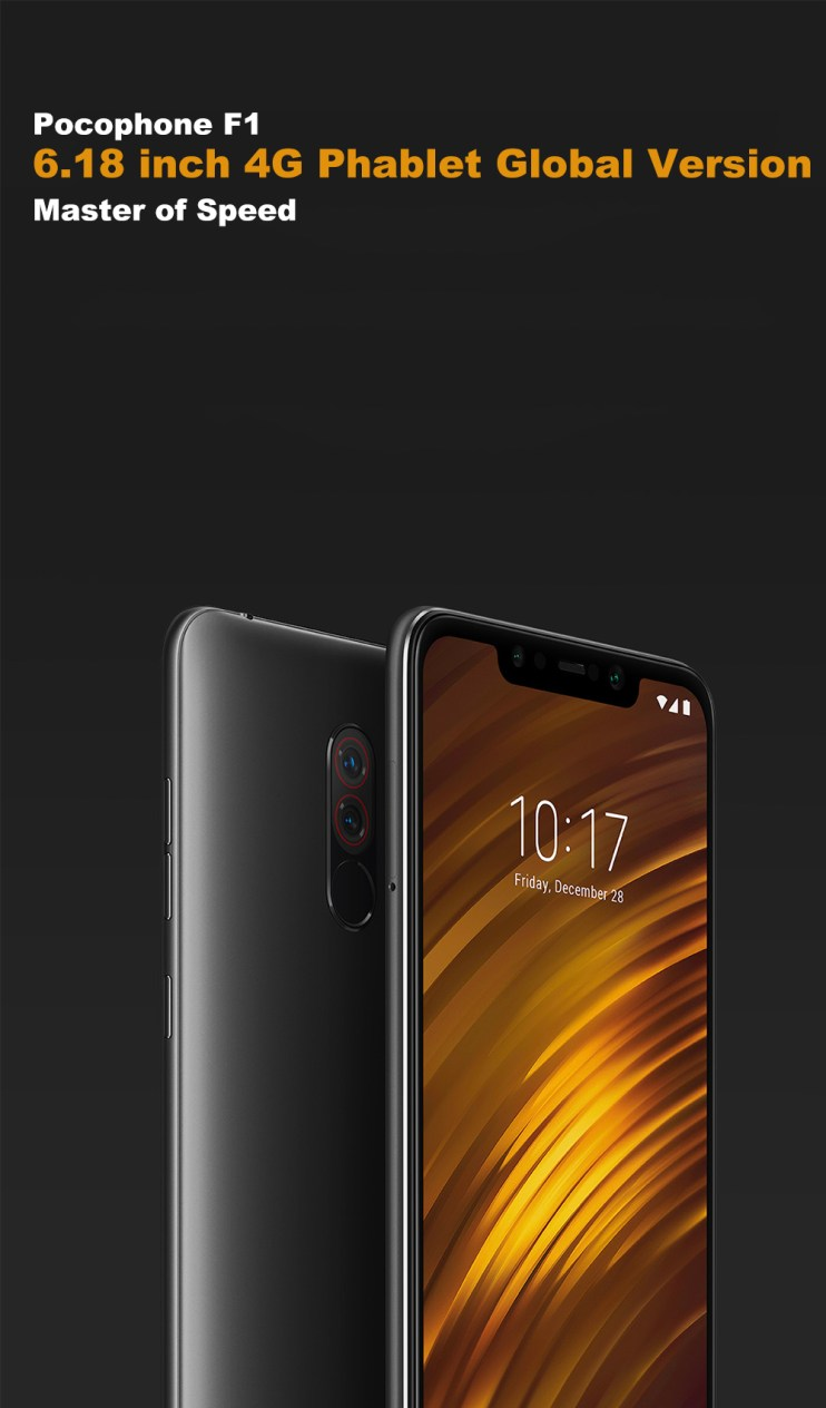 Xiaomi Pocophone F1 4G Phablet 6.18 inch Android 8.1 Qualcomm Snapdragon 845 Octa Core 2.8GHz 6GB RAM 128GB ROM 20.0MP Front Camera Fingerprint Sensor 4000mAh Built-in- Graphite Black 6+128GB