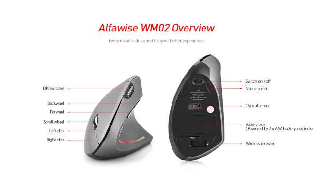 Alfawise WM02 Ergonomic Vertical Design Wireless 2.4GHz Mouse- Army Brown