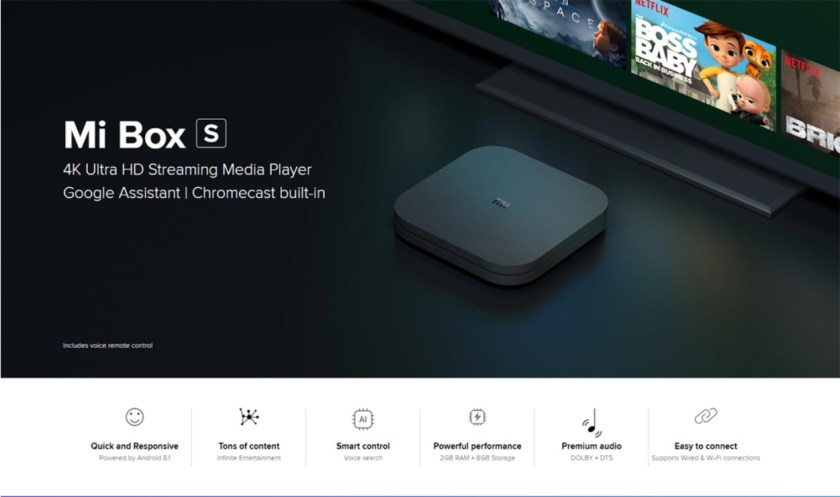 Xiaomi Mi Box S with 4K HDR Android TV Streaming Media Player and Google Assistant Remote Cortex-A53 Quad Core 64 bit Mali-450 Android 8.1 2GB RAM 8GB ROM HDMI2.0 2.4G + 5.8G WiFi BT4.2- Black EU Plug