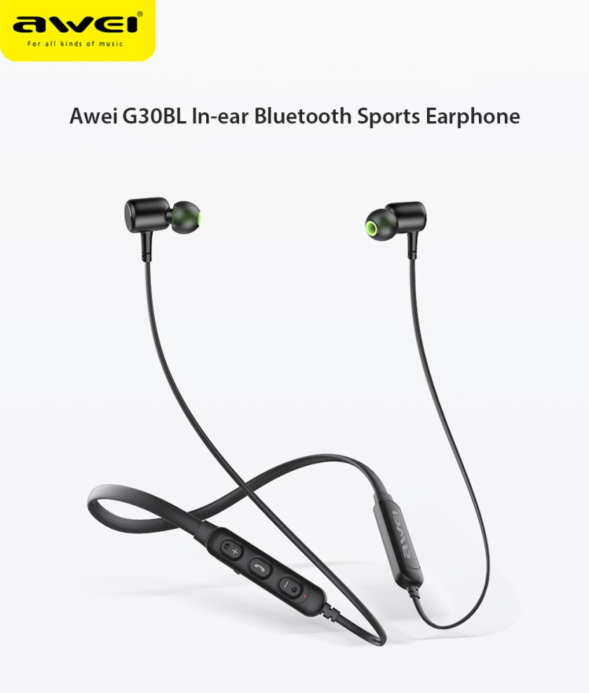 Awei G30BL In-ear Bluetooth Sports Earphone Neckband Magnetic Earbuds with Mic- Black