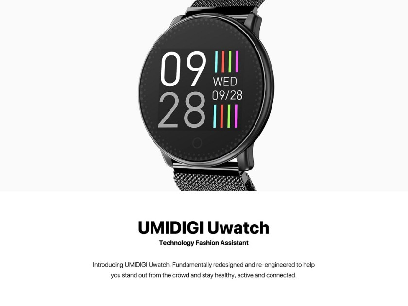 UMIDIGI Uwatch Smart Heart Rate and Sleep Monitor Color Bracelet Smartwatch- Black Steel Band