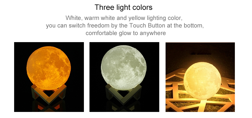 3D Simulation Moon Light with Three Colors- White