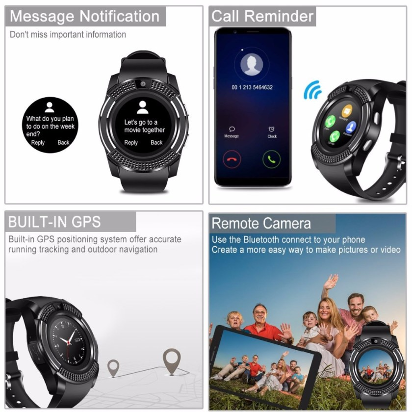 V8 Bluetooth Smart watch Touch Screen Wrist Watch with Camera/SIM Card Slot- Jet Black 1pc