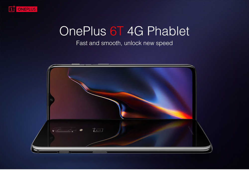 OnePlus 6T 4G Phablet 6.41 inch Android 9.0 Snapdragon 845 Octa Core 2.8GHz 16.0MP + 20.0MP Rear Camera 16.0MP Front Camera 8GB RAM 128GB ROM Light-sensitive Screen Fingerprint 3700mAh Built-in- Midnight Black