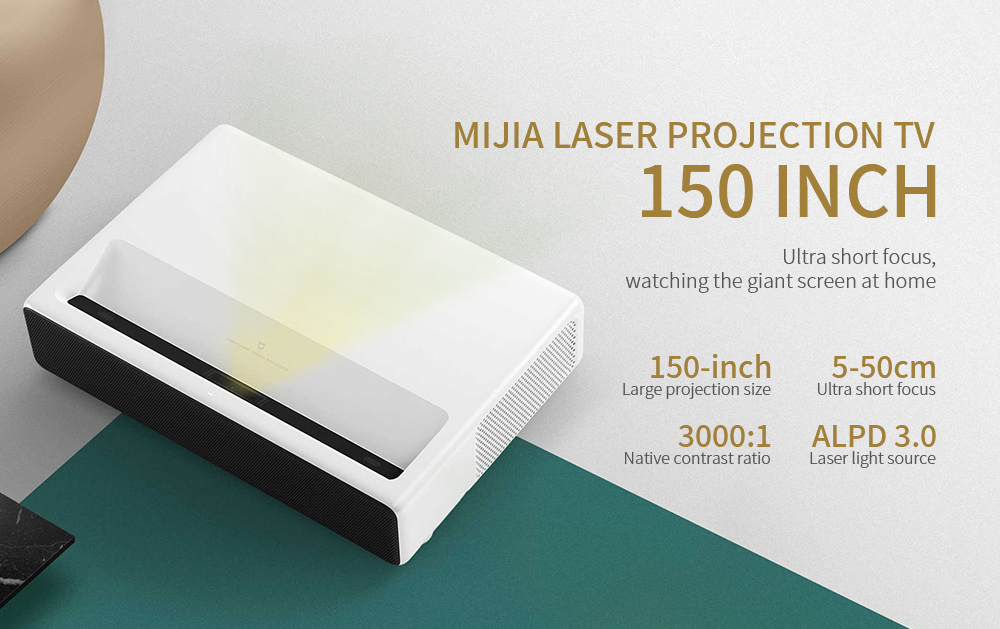 Xiaomi Mijia Ultra Short Throw 5000 ANSI Lumens Laser Projector 3000 : 1 T968 Cortex-A53 4-core 4K Android 6.0 ALPD 3.0 - English Version- White EU Plug