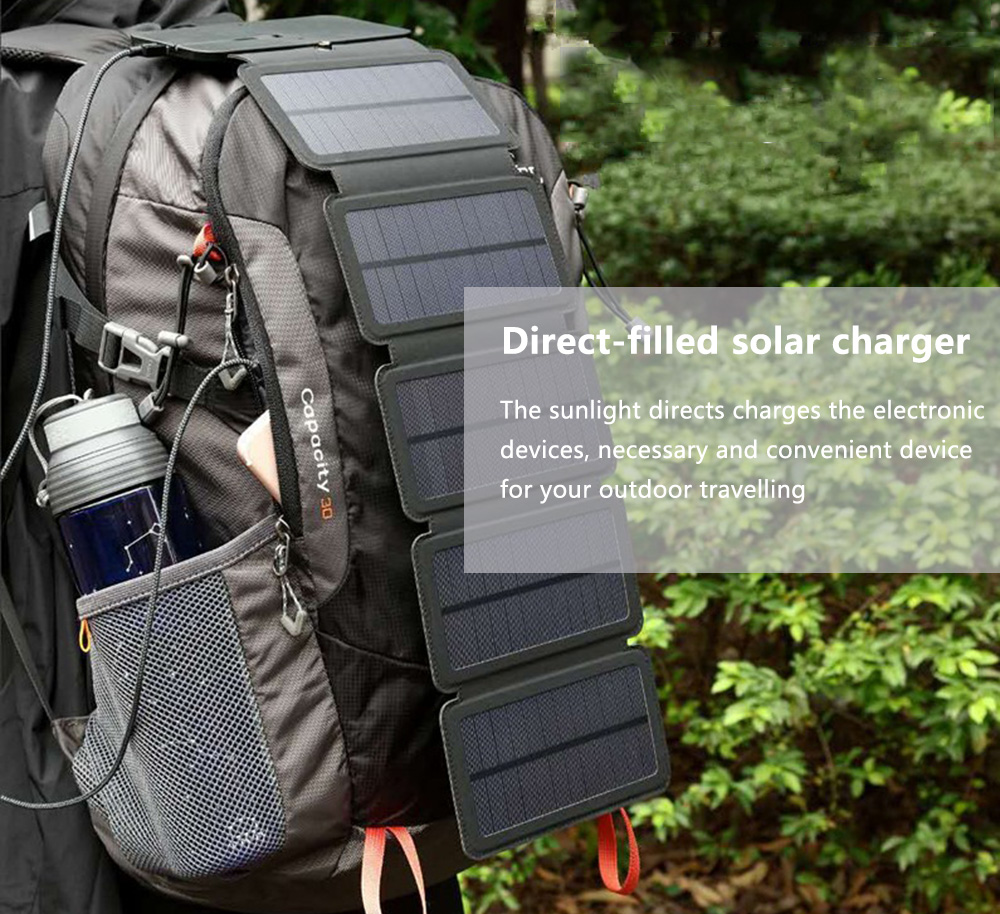 Outdoor Solar Charging Panel Removable Folding Mobile Phone Charger- Black 5pcs