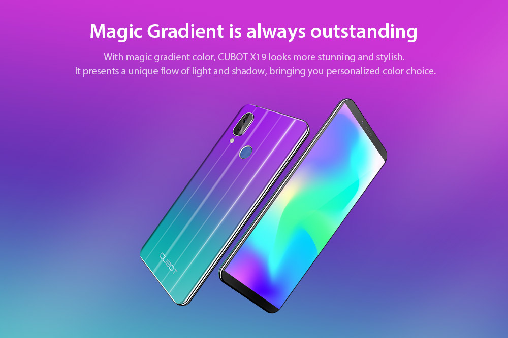 CUBOT X19 4G Phablet 5.93 inch Android 8.1 MT6763T ( Helio P23 ) Octa-Core 2.5GHz 64-bit 4GB RAM 64GB ROM 16.0MP + 2.0MP Rear Camera Fingerprint Sensor 4000mAh Built-in- Twilight EU Plug