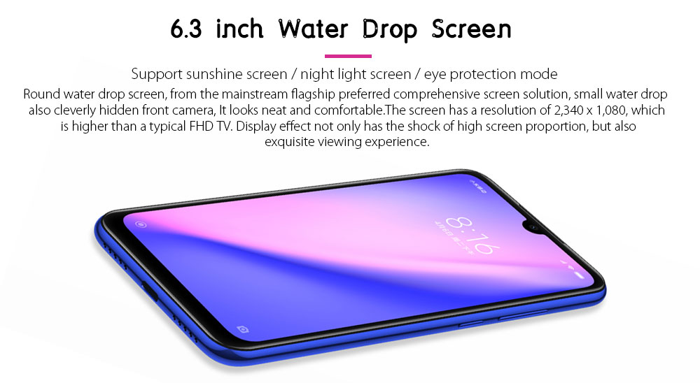 Xiaomi Redmi Note 7 4G Phablet 6.3 inch MIUI 10 ( Android 9.0 Pie ) Qualcomm Snapdragon 660 Octa Core 2.2GHz 3GB RAM 32GB ROM 48.0MP + 5.0MP Rear Camera Fingerprint Sensor 3900mAh Built-in- Black