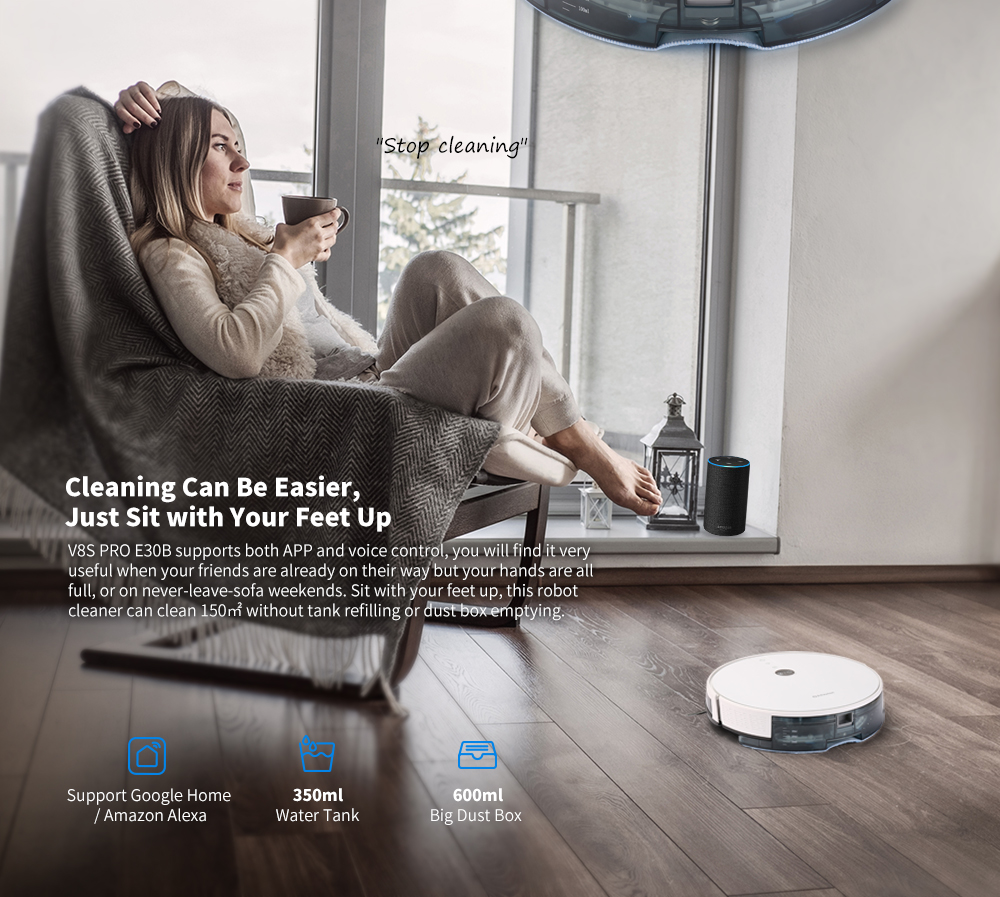 Alfawise V8S PRO E30B Robotic Vacuum Cleaner with APP CE Safety- White