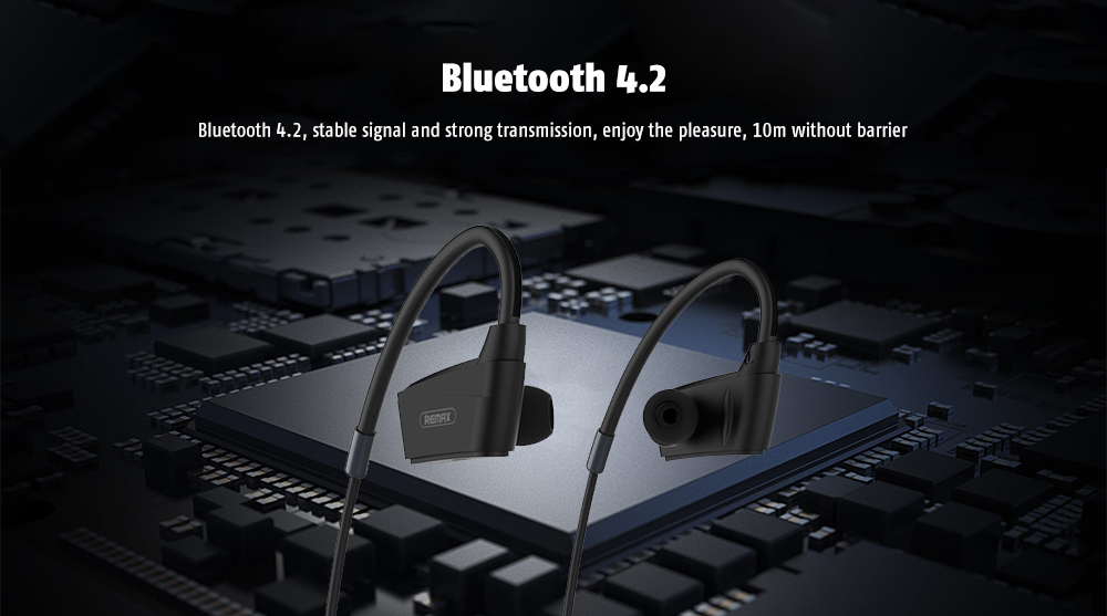 REMAX RB - S19 Neck Hanging Design / Surround Sound Effect / Noise Canceling Bluetooth In-ear Sports Earphone with Mic- Black