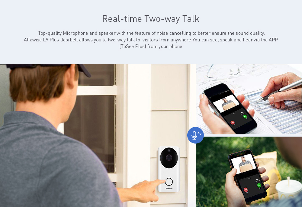 Alfawise L9 Plus 2.4GHz / Wide-angle Lens / Rechargeable Battery / Night Vision / Two-way Talk / PIR Motion Detection 1080P HD WiFi Video Doorbell- White