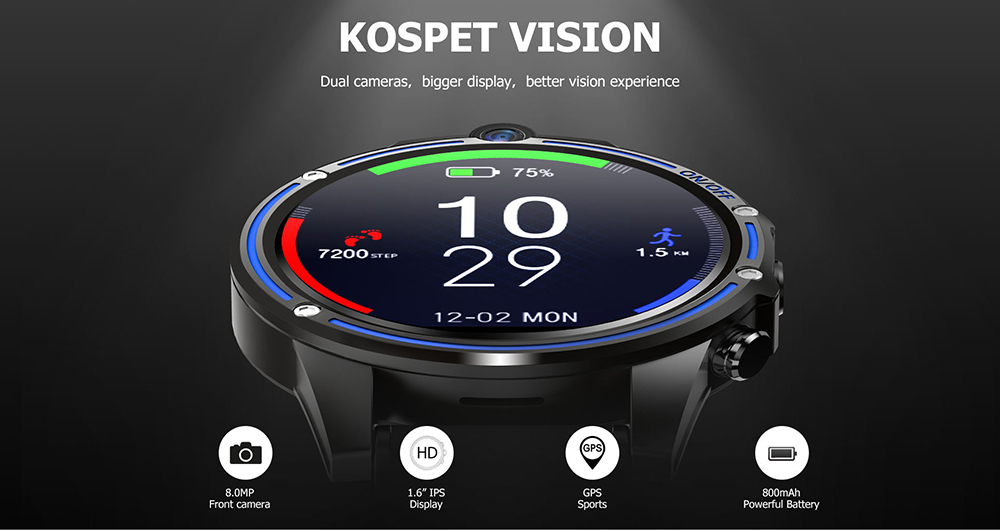 Kospet Vision 1.6 inch IPS Screen / Android 7.1 / GPS / Mixed Strap 4G Dual Camera Smart Watch Phone  - Red