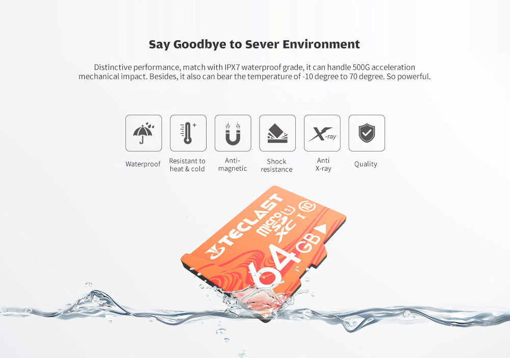 Teclast High Speed Large Capacity Waterproof Micro SD / TF Card UHS - 1 U1- Light Salmon 128GB