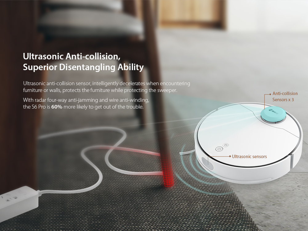 360 S6 Pro Laser Navigation Wet and Dry Robot Vacuum Cleaner RF Omnidirectional + APP Dual Remote Control 5200mAh Battery 2200Pa Suction Power- White