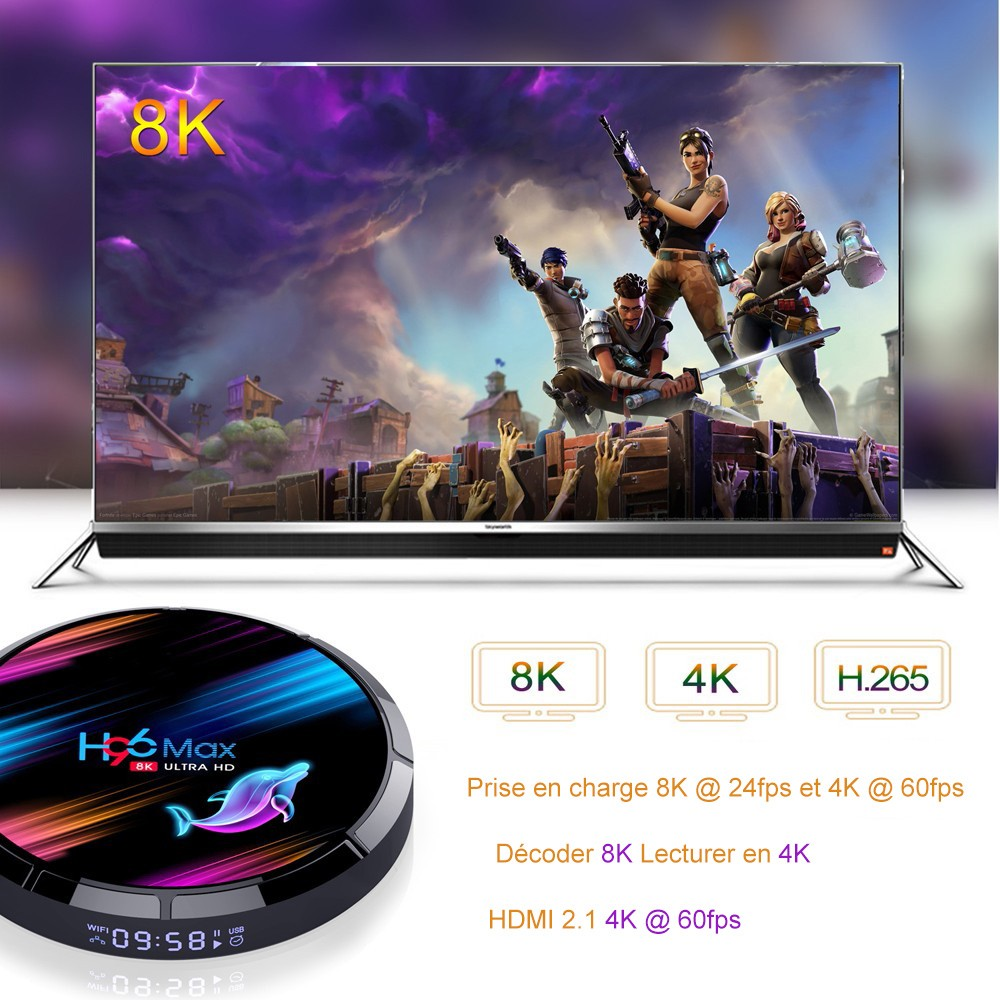 H96 Max X3 Android 9.0 Smart TV Box with Amlogic S905X3 Mail-G31 2.4GHz + 5.0GHz Dual-band WiFi 1000Mbps 2 x USB BT 4.0 H.264, H.265, Google Play Support 8K 24fps - Black 4GB RAM +64GB ROM EU Plug