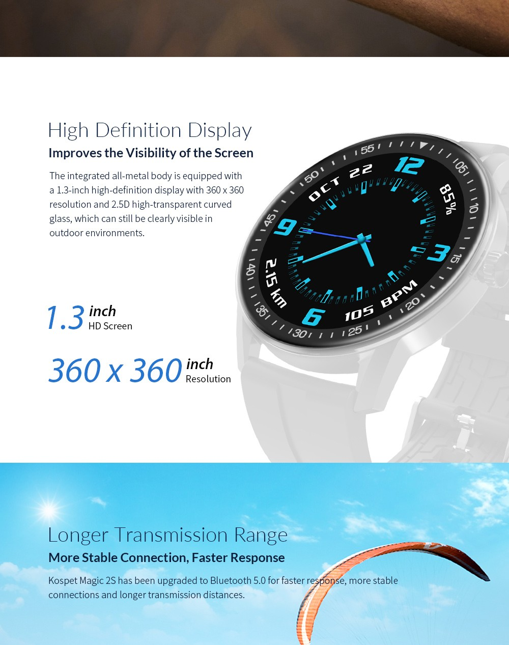Kospet MAGIC 2S 1.3 inch Smart Watch HD Display