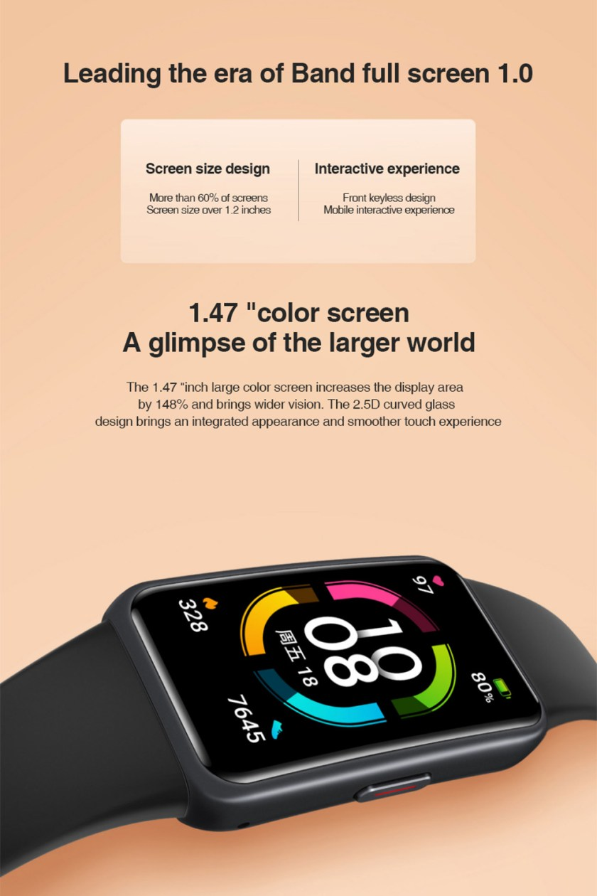 Honor Band 6 Smart Wristband 1.47 Inch Amoled Touch Screen Professional Sports Fitness Tracker Heart Rate Blood Oxygen Monitor Long Standby Smart Watch - Black