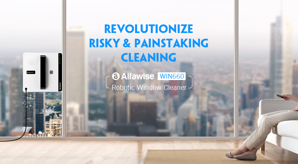 Alfawise WIN660 fenêtre robotique Cleaner- blanc EU Plug