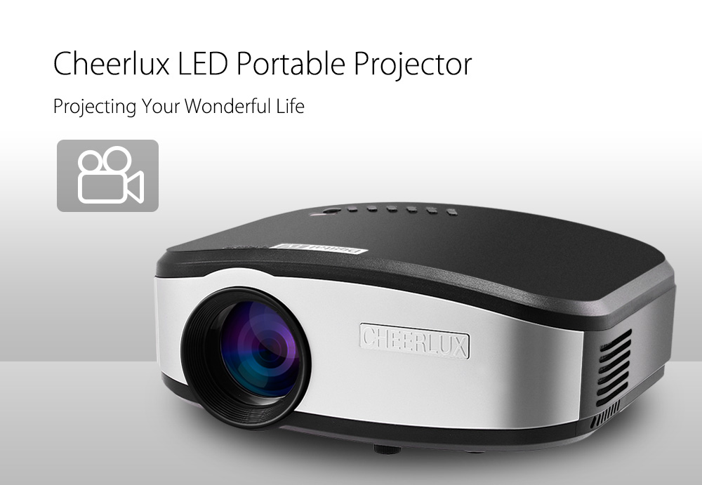 Cheerlux LED Portable Projector 800 x 480 Pixels 1200LM Multimedia Home Theater Support DVB-T