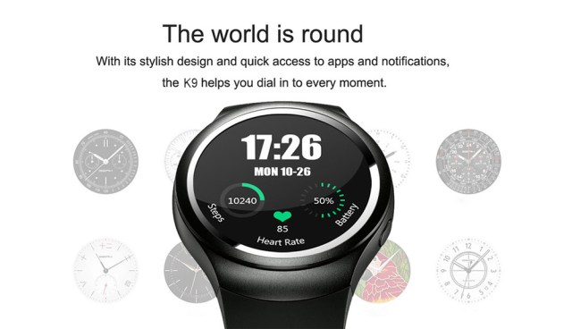 K9 1.3 inch Smartwatch Phone Android 4.4 MTK6572 Dual Core 1.0GHz 512MB RAM 4GB ROM Heart Rate Monitor Pedometer GPS WiFi Music Bluetooth