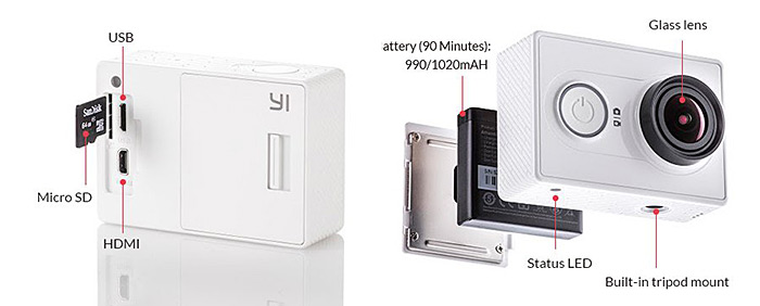 Xiaomi Yi Action Camera officiel de l'UE.  Édition WiFi 2K Super HD 155 degrés grand angle 16MP Sport DV Recorder
