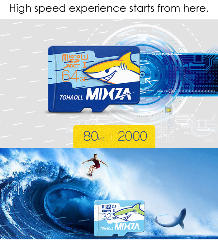 MIXZA TOHAOLL Ocean Series 128GB Micro SD Memory Card Storage Device