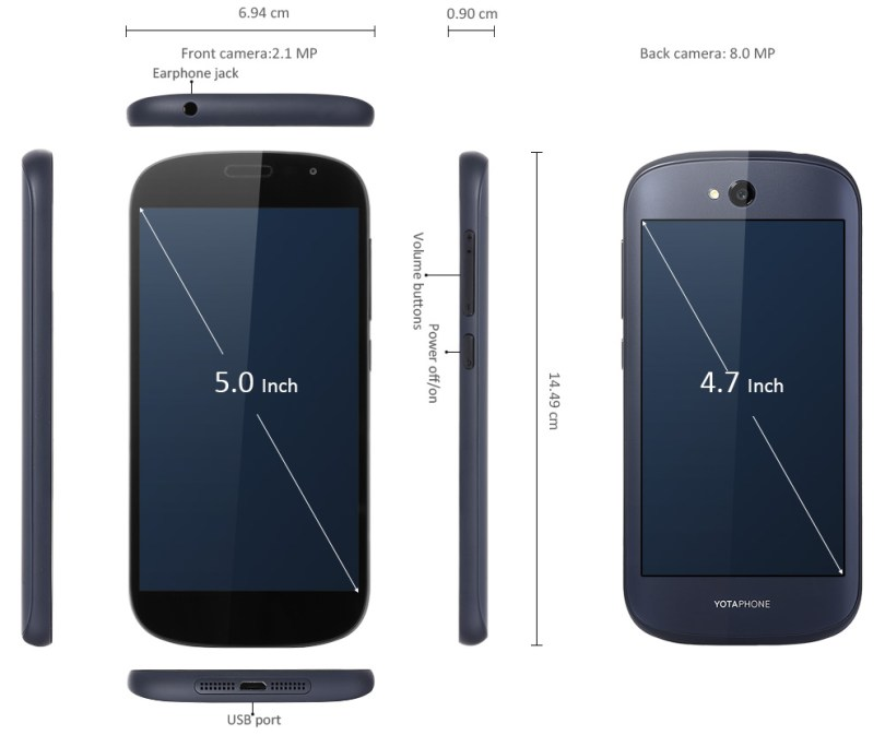 Yotaphone 2 5.0 inch 4G Smartphone with ALWAYS-ON Back Screen Android 4.4 Qualcomm Snapdragon 801 Quad Core 2.26GHz 2GB RAM 32GB ROM Corning Gorilla Glass 3 NFC Bluetooth 4.0