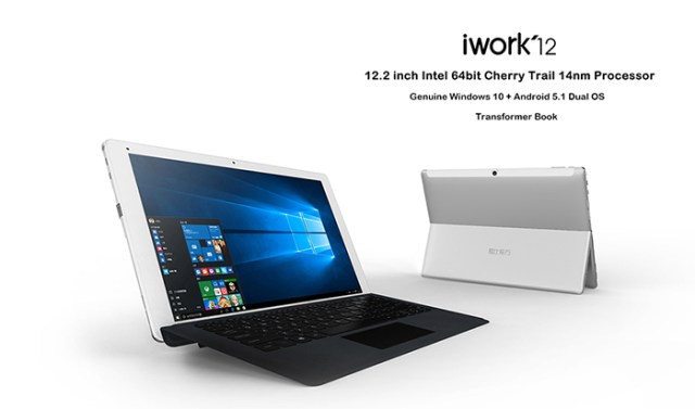 CUBE iwork12 2 in 1 Tablet PC 12.2 inch Windows 10 + Android 5.1 IPS Screen Intel Cherry Trail Z8300 64bit Quad Core 1.44GHz 4GB RAM 64GB ROM Cameras
