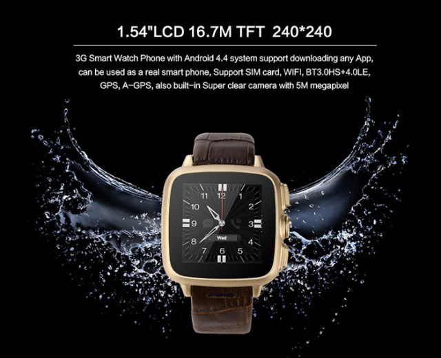 TenFifteen X9 Android 4.4 1.54 inch 3G Smartwatch Phone MTK6572 Dual Core 1.3GHz 512MB RAM 4GB ROM 5.0MP Camera A-GPS Bluetooth 4.0