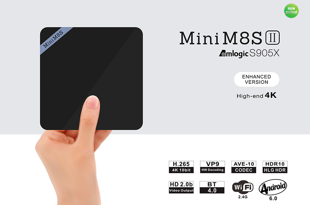 Mini M8S II Smart TV Box Amlogic S905X Quad Core Android 6.0 64bit 4K VP9 Decoding Support BT 4.0 2.4GHz WiFi