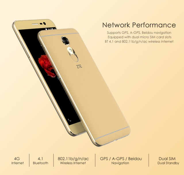 ZTE A910 Android 5.1 5.5 inch Amoled Screen 4G Phablet MTK6735 1.3GHz Quad Core 3GB RAM 32GB ROM Fingerprint Scanner NFC GPS