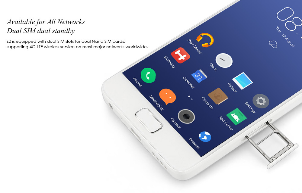 Lenovo ZUK Z2 5.0 inch FHD Screen 4G Smartphone Android 6.0 Snapdragon 820 64bit Quad Core 2.15GHz 4GB RAM 64GB ROM 13MP Rear Camera Type-C U-Touch 2.0